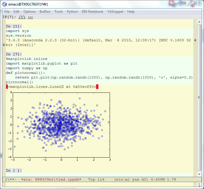 the emacs ipython notebook, mixing and evaluating code, text and graphics