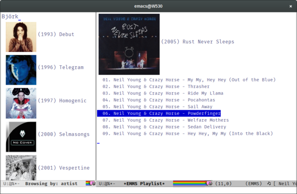 the emms multimedia player showing covers